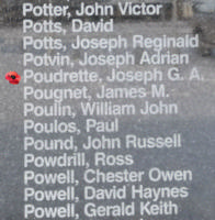 Memorial– Leading Aircraftman Joseph Gillies Poudrette is commemorated on the Bomber Command Memorial Wall in Nanton, AB … photo courtesy of Marg Liessens