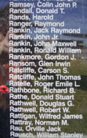 Memorial– Warrant Officer Class II Richard Barlow Rathbone is commemorated on the Bomber Command Memorial Wall in Nanton, AB … photo courtesy of Marg Liessens