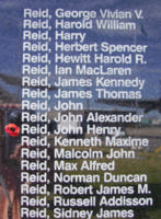 Memorial– Flight Sergeant John Henry Reid is commemorated on the Bomber Command Memorial Wall in Nanton, AB … photo courtesy of Marg Liessens