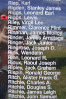 Memorial– Warrant Officer Class II Lewis Riggs is commemorated on the Bomber Command Memorial Wall in Nanton, AB … photo courtesy of Marg Liessens