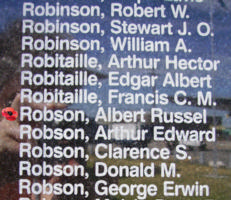 Memorial– Sergeant Albert Russel Robson is also commemorated on the Bomber Command Memorial Wall in Nanton, AB … photo courtesy of Marg Liessens