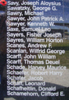 Memorial– Sergeant Joseph Aloysius Savy is also commemorated on the Bomber Command Memorial Wall in Nanton, AB … photo courtesy of Marg Liessens