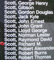 Memorial– Flying Officer Richard McDiarmid Scott is commemorated on the Bomber Command Memorial Wall in Nanton, AB … photo courtesy of Marg Liessens