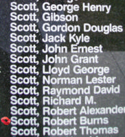 Memorial– Pilot Officer Robert Burns Scott is commemorated on the Bomber Command Memorial Wall in Nanton, AB … photo courtesy of Marg Liessens