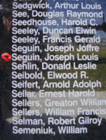 Memorial– Flight Sergeant Joseph Louis Paul Seguin is commemorated on the Bomber Command Memorial Wall in Nanton, AB … photo courtesy of Marg Liessens