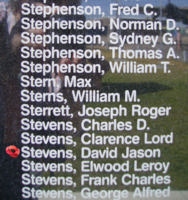 Memorial– Pilot Officer David Jason Stevens is also commemorated on the Bomber Command Memorial Wall in Nanton, AB … photo courtesy of Marg Liessens