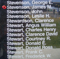 Memorial– Pilot Officer James Morton Stevenson is commemorated on the Bomber Command Memorial Wall in Nanton, AB … photo courtesy of Marg Liessens