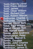 Memorial– Pilot Officer Charles Clarke Todhunter is commemorated on the Bomber Command Memorial Wall in Nanton, AB … photo courtesy of Marg Liessens