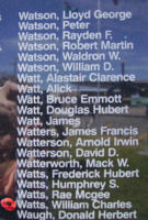 Memorial– Flight Sergeant William Charles Watts is also commemorated on the Bomber Command Memorial Wall in Nanton, AB … photo courtesy of Marg Liessens