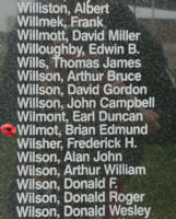 Memorial– Squadron Leader Brian Edmund Wilmot is also commemorated on the Bomber Command Memorial Wall in Nanton, AB … photo courtesy of Marg Liessens