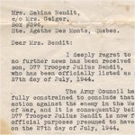 Letter– Letter of notification from the Department of National Defence