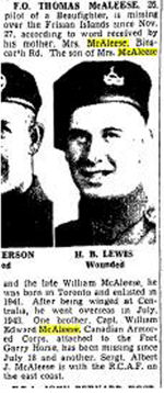 """Newspaper clipping– Toronto Star """"Pages of the Past"""" online 1945 Jan 3  p 8."""