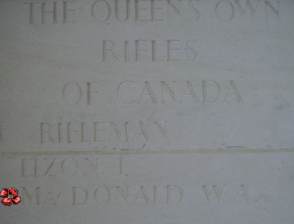 Inscription– Inscription on the Bayeux Memorial - August 2012