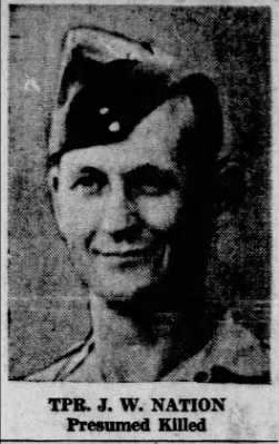 Newspaper clipping– Picture of Trooper Jasper Waring Nation in the newspaper when he was identified as presumed dead. He served with the 1st Hussars and was killed during what became known as Black Sunday