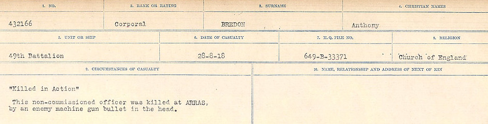 Circumstance of death– Source: Library and Archives Canada.  CIRCUMSTANCES OF DEATH REGISTERS FIRST WORLD WAR Surnames: Brabant to Britton. Mircoform Sequence 13; Volume Number 131829_B016722; Reference RG150, 1992-93/314, 157 Page 405 of 906