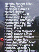Memorial– Warrant Officer Class II Victor Roy Henry is also commemorated on the Bomber Command Memorial Wall in Nanton, AB … photo courtesy of Marg Liessens