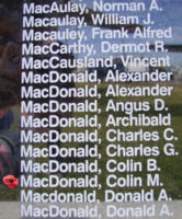 Memorial– Flight Sergeant Colin Murray MacDonald is also commemorated on the Bomber Command Memorial Wall in Nanton, AB … photo courtesy of Marg Liessens