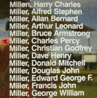 Memorial– Flight Sergeant Charles Percy Miller is also commemorated on the Bomber Command Memorial Wall in Nanton, AB … photo courtesy of Marg Liessens