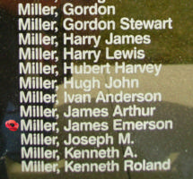 Memorial– Sergeant James Emerson Miller is also commemorated on the Bomber Command Memorial Wall in Nanton, AB … photo courtesy of Marg Liessens