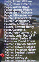 Memorial– Warrant Officer Class II John Palmer is commemorated on the Bomber Command Memorial Wall in Nanton, AB … photo courtesy of Marg Liessens