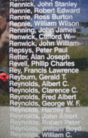 Memorial– Flight Sergeant Gerald Thomas Reyburn is commemorated on the Bomber Command Memorial Wall in Nanton, AB … photo courtesy of Marg Liessens