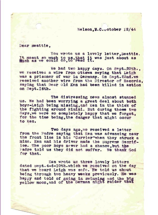 Letter - October 1, 1944 (Page 1 of 3)
