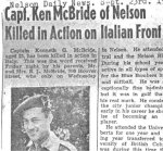 Newspaper Clipping– Nelson Daily News report of Ken's death in September 1945