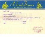Telegram– Telegram Ken received in 1939 from Nelson Mayor Stibbs congratulating him for winning the UBC Golf Championship