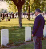 Remembering his brother– Leigh McBride visited the gravesite of his brother Ken for the first time in 1974 when he came to Italy with other Canadian Veterans as part of a 30th anniversary tour.