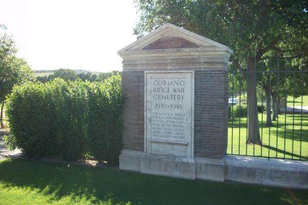Cemetery– Entrance - Coriano Ridge War Cemetery - May 2013 ... Photo courtesy of Marg Liessens