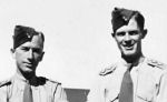 Group photo– Lt. William John (Jack) MacNeil on right, with Lt. Clarence John (Dirk) Doerksen (deceased 2011) following Officer Training (in Victoria).  Probably taken in August, 1943, back of photo says in Shilo, MB.  Both had been in England with PPCLI, and had been returned to Canada for commissioning.