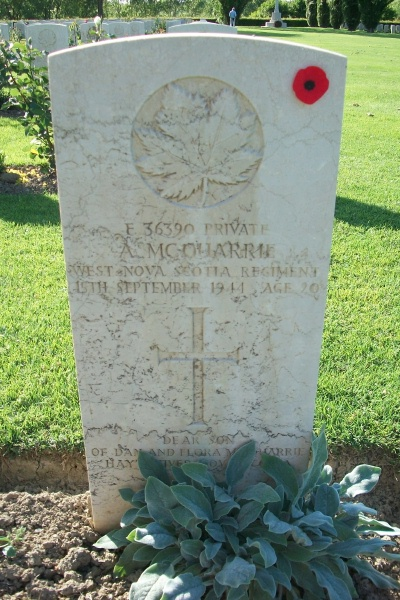Grave Marker– Grave marker - Coriano Ridge War Cemetery - May 2013 Photo courtesy of Marg Liessens
