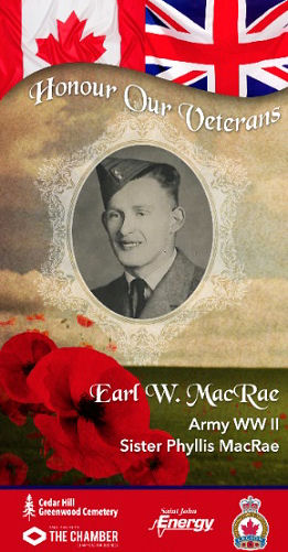 Memorial– This is my Mom's Brother. (Phyllis I MacRae). Banner displayed at Chesley Dr Saint John NB. Canada