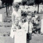 Grave site– This photo was taken by a RCAF Retired Ronald McRae. Posing in the photo was Pauline McRae, David McRae (taller boy) and Earl William McRae.