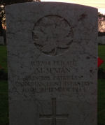 Grave marker– Nov. 11, 2013 at sunset Coriano Ridge War Cemetery, the first picture of Metro's marker