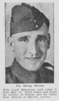 Photo of GEORGE STEVENS– From the Loyal Edmonton Regimental magazine the Fortyniner.  Submitted for the project, Operation Picture Me