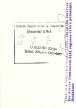 Reverse of Photo– Back of pic of wooden cross on Hub's grave in Italy.
