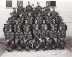 Group Photo– Hubert John Thacker with the 8th Platoon, C Company,  Canadian Infantry Training Centre, Calgary, Alberta.  21 May 1943.   Hub is in the third row, fourth from the left. Two months later he embarked for Europe.