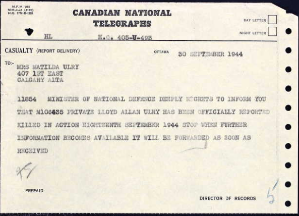 Telegram– A copy of the telegraph sending word of Lloyd's death to his family sept 30 1944.