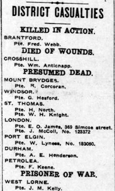 Newspaper clipping– From the London Free Press June 1917. Submitted for the project Operation Picture Me