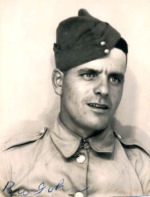 Photo of John Melenchuk– Photo of John Melenchuk in his Second World War uniform. 'Bro John' written by his younger brother Samuel John who also served overseas in WWII.