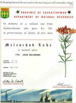 Certificate– Melenchuk Lake is named after TPR. John Melenchuk. Son of Nickolas and Mary.
