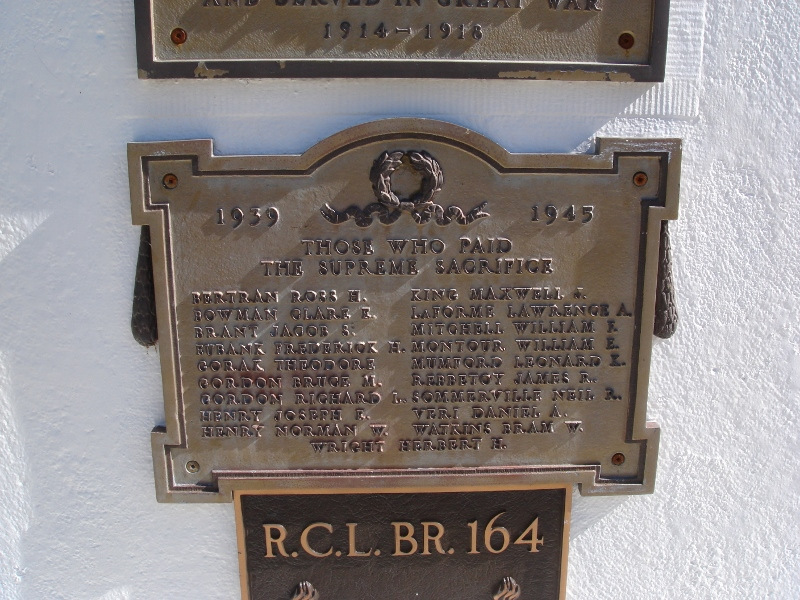 Memorial– The WWII plaque on Hagersville's War Memorial in Hagersville, Ontario, Canada—Leonard K. MUMFORD  is one of the 19 names listed on the plaque.