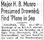 Newspaper Clipping 3– This article on Major Munro, bottom left of the page, mentions the others aboard the plane, who were also lost.  (Nov. 13,  1942 Ottawa Journal.)