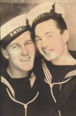 Photo of William Quilty (right)– William J. Quilty (right), and his best friend, George Whalen. Both served in the RCN, and were serving as temporary crew on the SS Cornwallis when they were torpedoed by U-1230.