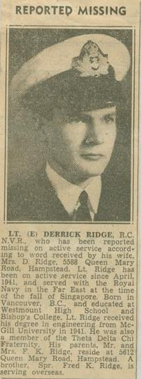 Press Clipping– Lieutenant (E) Derrick Ridge obit Montreal Gazette Sept 30 1943 courtesy McGill University archives