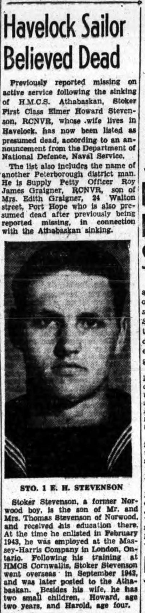 Newspaper clipping– ELMER STEVENSON DEAD