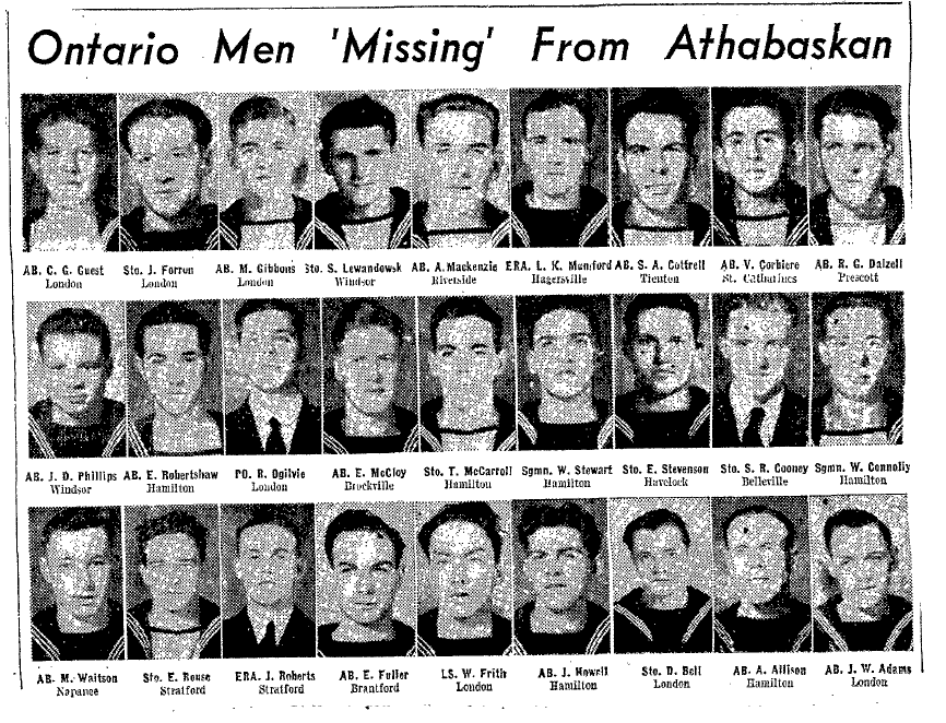 Photos of missing men from Athabaskan– Submitted for the project, Operation: Picture Me