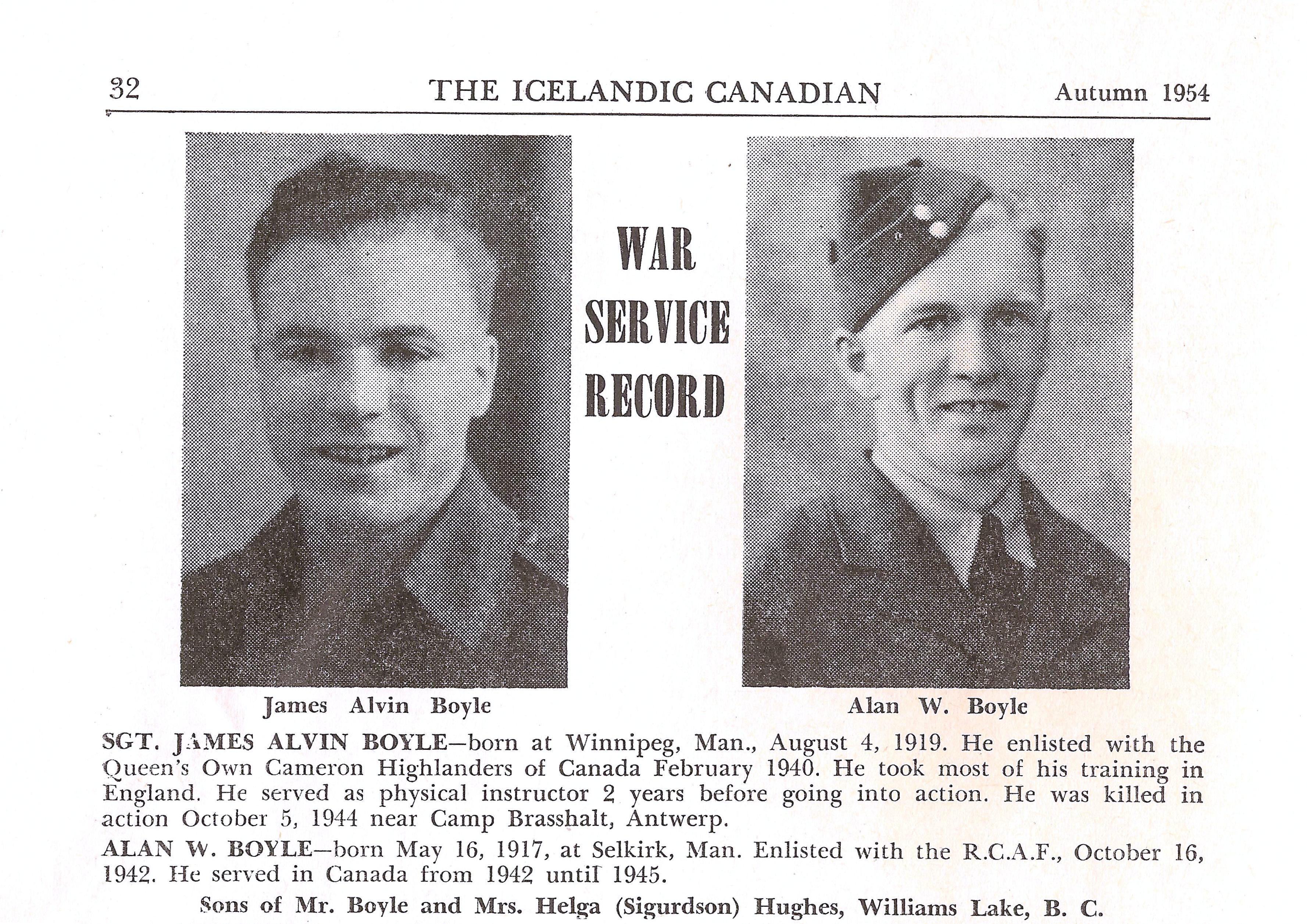 """Newspaper Clipping– I scanned this image from an old publication I have called """"The Icelandic Canadian"""" which was published out of Manitoba in Autumn of 1954. It also has a photo and some information of my paternal grandfather, Allan William Boyle."""