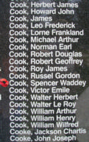 Memorial– Flying Officer Spencer Waddy Cook is also commemorated on the Bomber Command Memorial Wall in Nanton, AB … photo courtesy of Marg Liessens